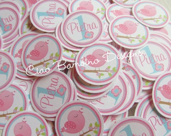 Tweet Birdy Party Mini Tags / Use for Table Confetti, Make Cupcake Toppers and More / Set of 75 Personalized with Name and Age