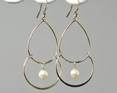 RESERVE LISTING - Britt Sister - Gold and Pearls Chandelier Earrings