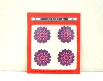 Vintage Tile Decal Stickers - 4 Mod Purple Flowers - Kitchen Bathroom Decor - NOS