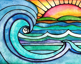 Wild Surf sunset sun art print painting beach waves ocean art  print water beach painting waves print sunrise art