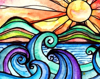 Surf art sunrise print