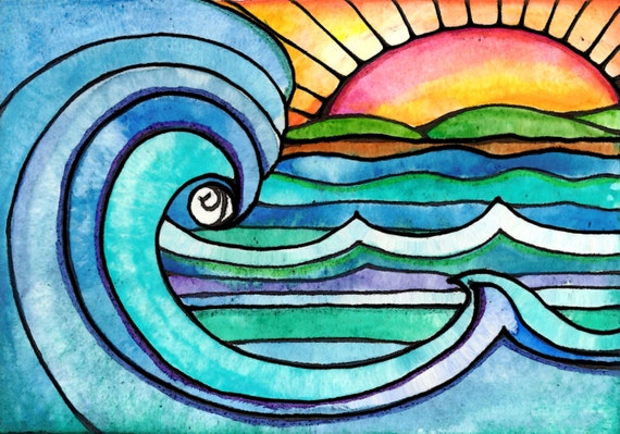 Wild Surf Sunset Sun Art Print Painting Beach Waves Ocean