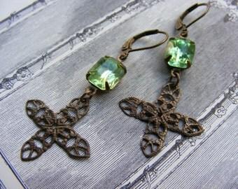 The Castle Jewels  Cross Earrings Pre-Raphaelite Vintage Glass Stones Medieval