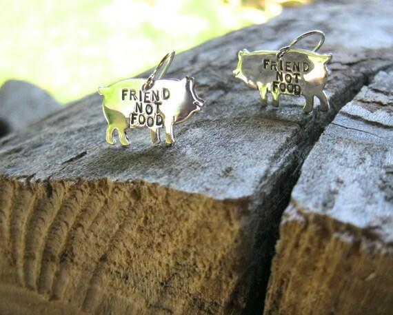 Mini Friend not Food Pig earrings-Recycled Sterling-Vegan Earrings-Farm Animal Earrings-Ethical-Gift-Birthday-Anniversary-Eco Friendly