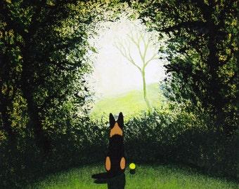 German Shepherd Dog LARGE Folk Art PRINT Todd Young painting Forest Light