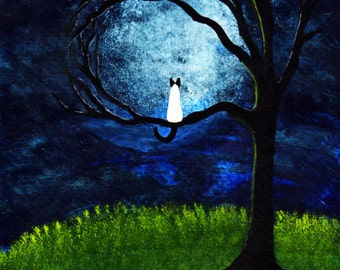 Siamese Cat outsider folk art print by Todd Young Moonlight Tree