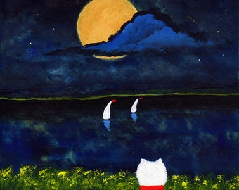 Westie Terrier Dog Folk Art PRINT Todd Young painting MOONLIGHT BAY
