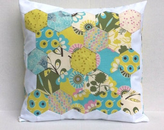SALE Geometric Patchwork Hexagon Aqua Lime Green Pink Pillow Cover 16 Inches