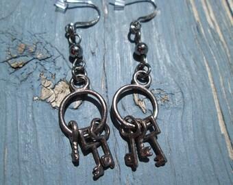 Industrial Earrings Gunmetal Key Dangle