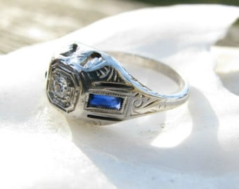 Art Deco Diamond Sapphire Ring, Fiery Old Cut Diamond, Pretty Details in White Gold, Dainty, Circa 1920's
