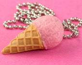 Kawaii Ice Cream Cone Necklace -  Strawberry - Pastel Pink - Summery Cuteness