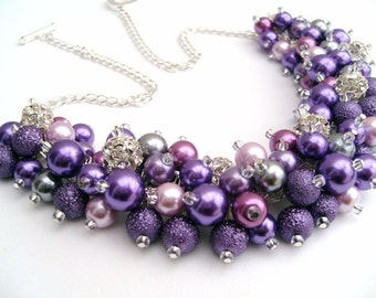 Purple Pearl and Rhinestone Beaded Necklace, Bridal Jewelry, Cluster Necklace, Chunky Necklace, Bridesmaid Gift, Lilac, Violet, Amethyst