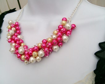 Hot Pink Pearl Beaded Necklace, Hot Pink Lemon Ivory White Bridesmaid Jewelry, Cluster Necklace, Chunky Necklace, Bridesmaid Gift, Pearls