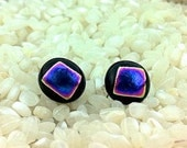 Dichroic Glass Stud Earrings .. Sterling Silver Posts… Back with Iridescent Blue- Purple - 8mm
