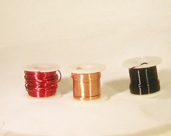 Wire, 24 g, 5 yards, red, gold, black, 3 spools, C, destash