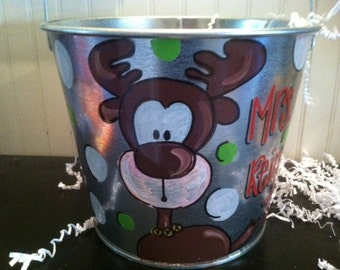 Cute Reindeer bucket perfect for  teachers gift or christmas decoration hand painted and personalized