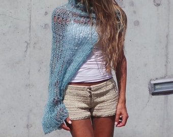 Turquoise blue kimono sleeved kid mohair  loose knit shrug LTD Edition in this shade