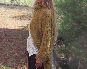 Mustard yellow chunky knit sweater