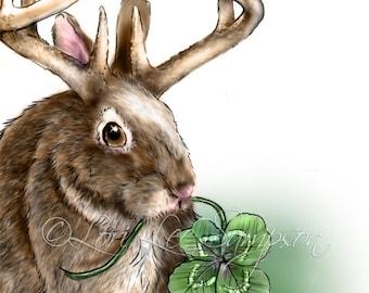 Instant Download | Art Illustration | Jackalope Painting | Bunny Rabbit with Antlers | Four Leaf Clover Shamrock