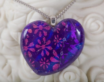 Purple, Blue & pink flower dichroic glass heart pendant