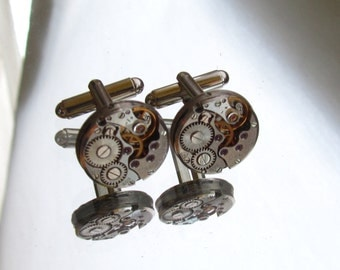 Steampunk Jewelry,Steampunk Mens round Watch Cufflinks  Fathers Day Wedding Anniversary Vintage upcycled mens Cuff Links