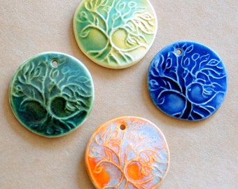 4 Handmade Ceramic Beads - Tree of Life Beads - large sized stoneware focal beads
