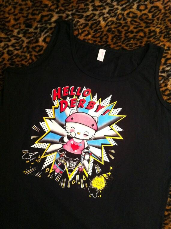 HELLO DERBY roller derby skates punk gothic tank top t shirt tshirt women plus size ladies Xl 1x 2x XXL