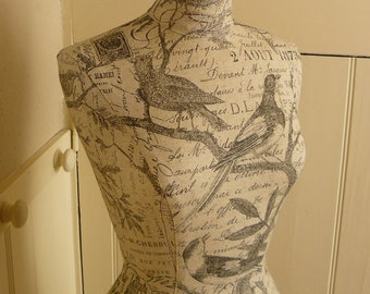 Home Decor Mannequin Female Wild Bird French Script Linen Display Dressform - Willa