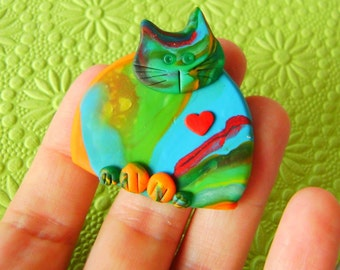 Fimo Polymer Clay Colourful Cat Brooch Pin or Magnet