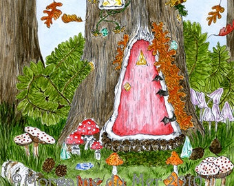 Gnome Home Elf House Fairy Tree Garden Art Print Fae Fantasy Forest Pen and Ink Watercolours Illustration