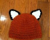 Fox Ears Crochet Beanie Skullcap Hat-cute photo prop or costume--all sizes newborn through adult