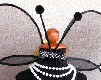 Black Bow Antenna Clip - Ladybug, Bumble Bee, Butterfly, Dragonfly Antenna for Halloween costumes