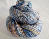 "Superwash Merino and Silk yarn base SHINYHAPPY - ""Mrs Blue Bird""  3.5 oz (100 grams) 435 yards"