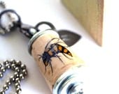 Bumble Bee Necklace - Cork in Test Tube - Custom Stamped Initial Charm - SAVE THE BEES by Uncorked