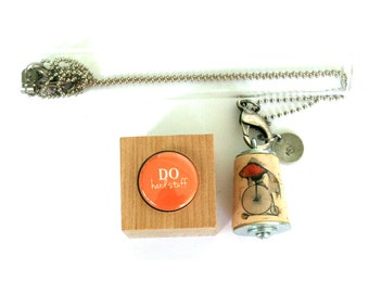 Goldfish Necklace - Tricycle, Do HARD STUFF, Inspiration Necklace, Gift, Orange, Stamped Metal, Cork in Test Tube and Cube - Uncorked