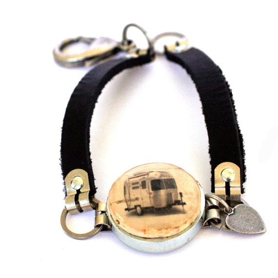 Trailer Bracelet - Airstream Jewelry - Wine Cork Bracelet - Leather Bracelet - Camper Gift - Road Trip Jewelry - Recycled - Uncorked