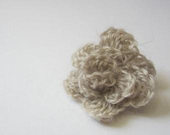 "Crochet flower pin  - 100% Pygora - 1 1/2"""