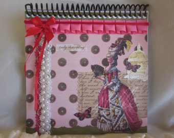 marie antoinette, notebook, journal, pink, pearls, blank pages, one of a kind, red