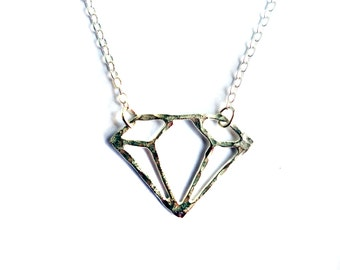 Handmade Hammered Sterling Silver Gemstone Outline Necklace