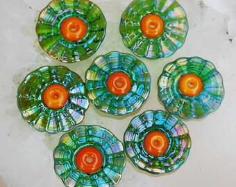 7 Gaia Tangerine Petals, green metallic shimmer handmade silver glass beads, by Beadfairy Lampwork, SRA