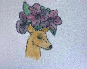 Original Deer and Flowers Watercolor Painting