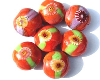 Handmade Lampwork Glass Beads Lentil Orange Coral Murrini Green purple