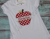 Personalized Back to School Apple Dress custom made girls boutique monogram short sleeve long sleeve tank embroidered kindergarten preschool