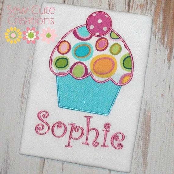 Birthday cupcake shirt, Girl Birthday shirt, Cupcake shirt, 1st birthday, first birthday, 2nd birthday, 3rd birthday, 4th sew cute creations