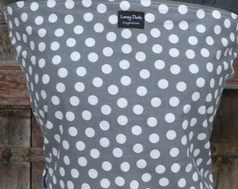 ORGANIC COTTON Baby Wrap Carrier-White Dots on Gray-DvD included-One Size Fits All