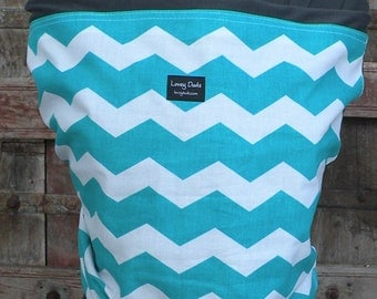 Baby Sling ORGANIC COTTON Baby Wrap-Sling Carrierr-Teal Chevron on Gray-Our Wraps Are One Size Fits All-DvD Included