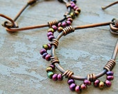 Antiqued Copper Wire Wrapped Teardrop Hoops with Iris Purple Seed Bead Petals