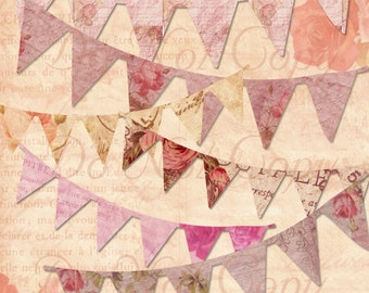 INSTANT Download Vintage French Pennant Banners Rose Ephemera Digital Clipart Scrapbooking Graphics Buy 1 Get 1 FREE
