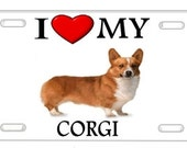 Corgi 2 I Love My Dog Metal License Plate Photo Wall Sign for Auto Car Truck Tags Personalized Custom