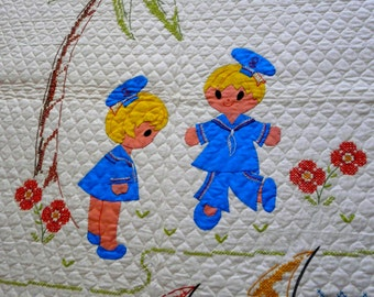 NEVER USED Vintage hand cross stitch cotton baby kids quilt
